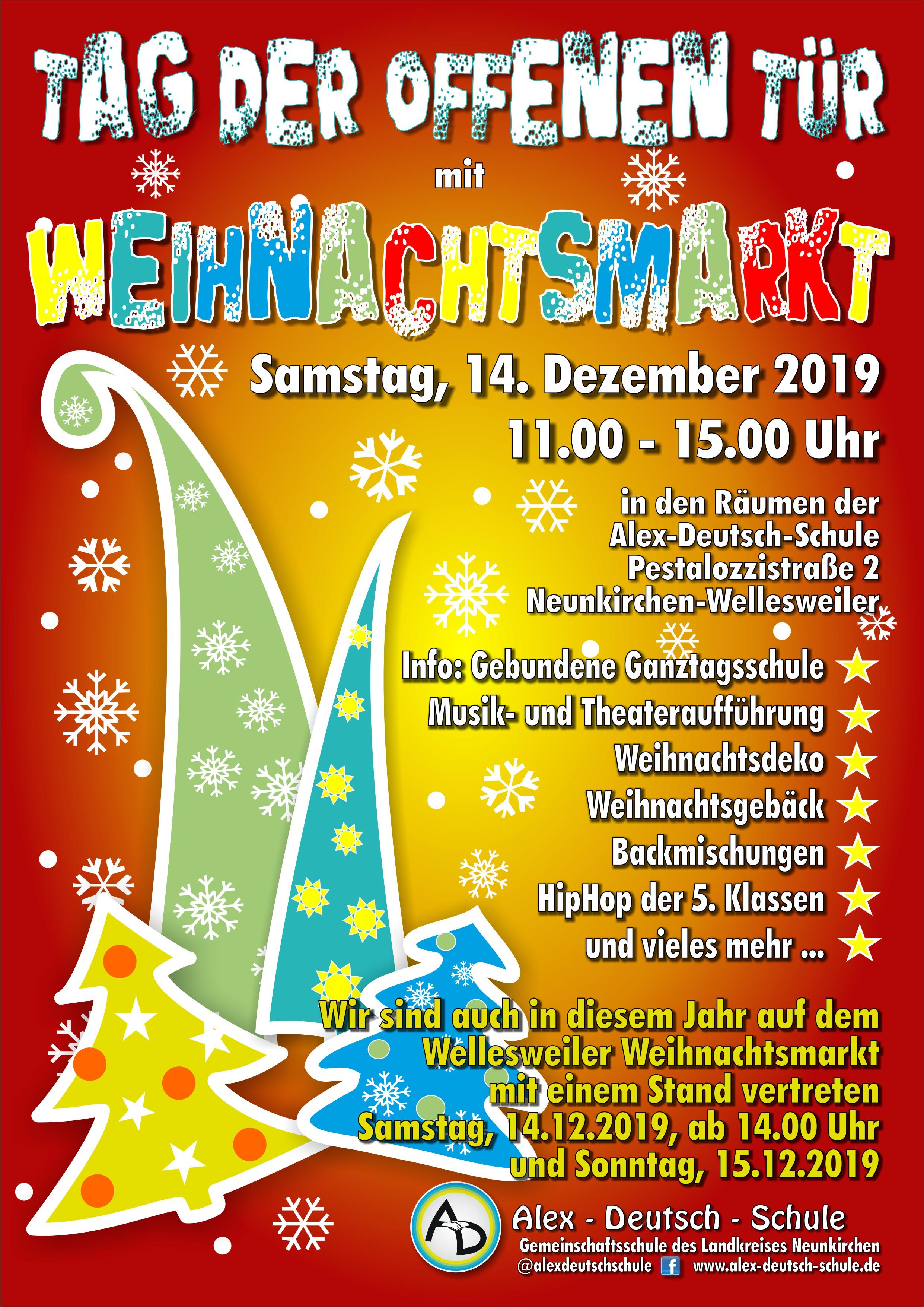 Wintermärchen 2.0: Weihnachtsmarkt und Willkommentag – Die Alex-Deutsch-Schule öffnet am 14.12.2019 wieder ihre Pforten